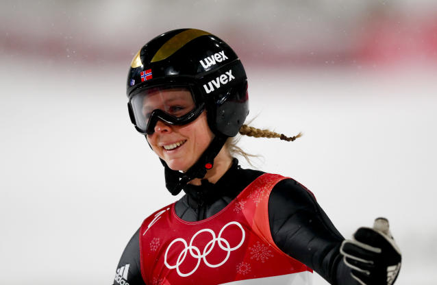 <p>Norway's Maren Lundby won the gold in the ladies' normal hill individual ski jumping event. The silver went to Katharina Althaus of Germany, while bronze went to Sara Takanashi of Japan. (AP) </p>
