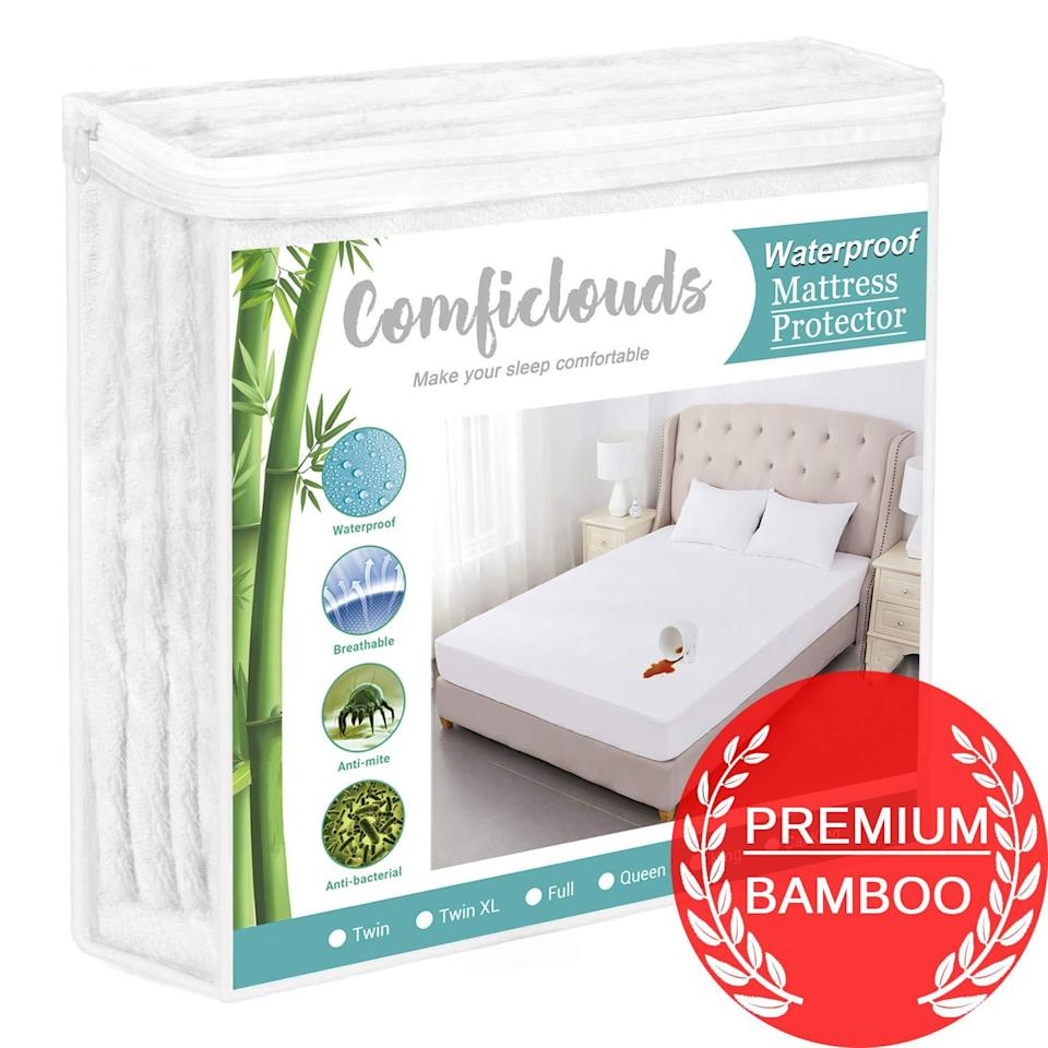 "<h2>ComfiClouds Cooling Bamboo Mattress Pad</h2> <br>""Hi, me again, talking about my husband (we've been spending <em>a lot</em> of time together). Not only is he a sweaty runner, but he's also a bit of a sweaty sleeper. I needed a new mattress protector for our bed and the last one we used had sort of a plastic-y finish that I really didn't like. This new mattress protector I recently bought is waterproof but it's made of bamboo rather than PVC or vinyl. It doesn't feel that different but it's definitely an upgrade in quality."" <em>– Marissa Rosenblum, Senior Shopping Director</em><br><br><em>Shop <strong><a href=""https://amzn.to/3dVd5Vm"" rel=""nofollow noopener"" target=""_blank"" data-ylk=""slk:ComfiClouds"" class=""link rapid-noclick-resp"">ComfiClouds</a></strong></em><br><br><strong>Comficlouds</strong> Cooling Hypoallergenic Bamboo Mattress Pad, $, available at <a href=""https://amzn.to/2Z0JJ3H"" rel=""nofollow noopener"" target=""_blank"" data-ylk=""slk:Amazon"" class=""link rapid-noclick-resp"">Amazon</a><br><br><br>"