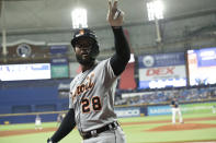 Detroit Tigers' Niko Goodrum gestures after hitting a home run against the Tampa Bay Rays during the fifth inning of a baseball game Thursday, Sept. 16, 2021, in St. Petersburg, Fla. (AP Photo/Scott Audette)