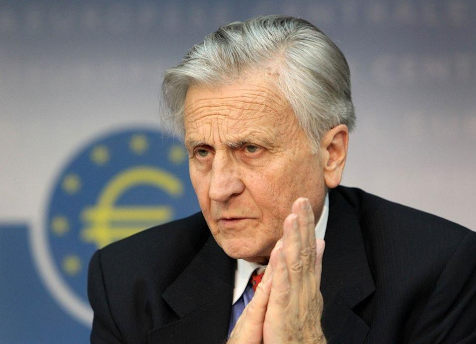 European Central Bank's former president Jean-Claude Trichet during a press conference in Frankfurt on April 7, 2011. Photo Agence-France Presse