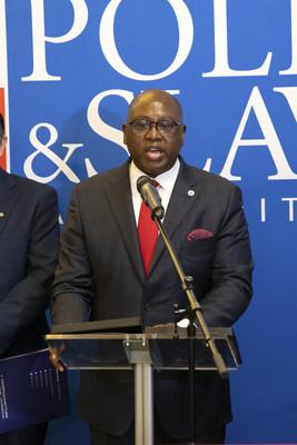 NCUA Chairman, Hon. Rodney E. Hood speaks at the exhibition unveiling ceremony at PSFCU headquarters in Brooklyn