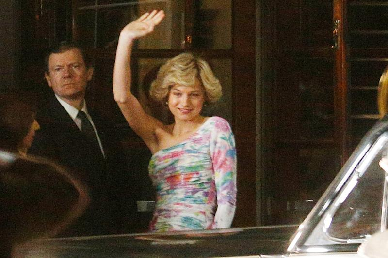 The Crown's Emma Corrin Channels Princess Diana in Signature One-Shoulder Look