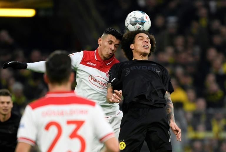 Midfielder Axel Witsel (R) helped Borussia Dortmund to a 5-0 win over Fortuna Duesseldorf on Saturday
