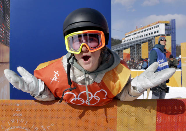 Red Gerard, of the United States, smiles after winning Olympic gold in the men's slopestyle final. (AP)