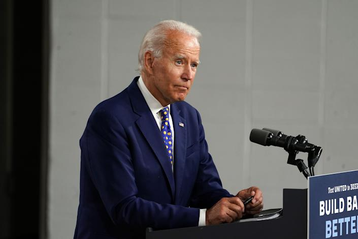 Joe Biden, the former Vice President and Democratic presidential candidate, speaks in Wilmington, Del., July 28, 2020. (Michelle V. Agins/The New York Times)