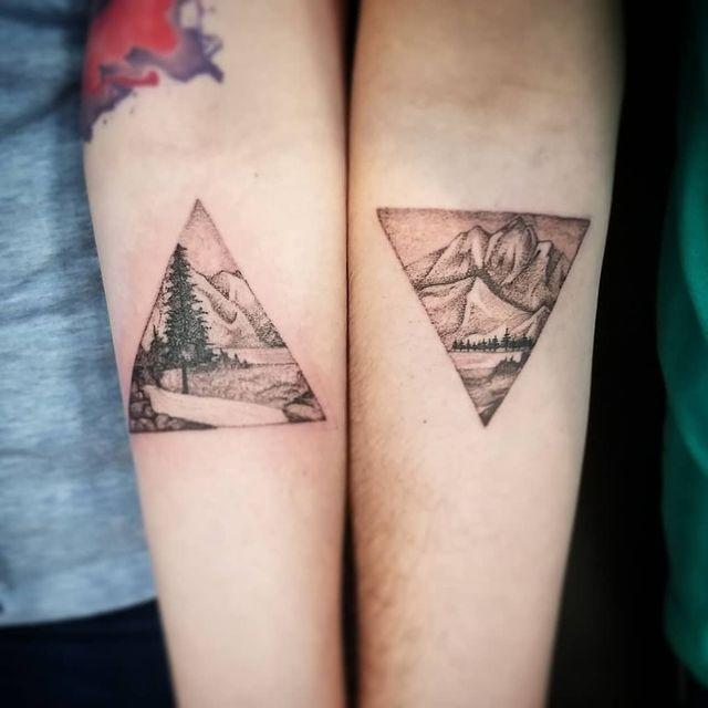 """<p>For the outdoorsy couple, these triangular tats are two halves of a picturesque mountain scene. </p><p><a href=""""https://www.instagram.com/p/BgWR7sbhZhU/?utm_source=ig_embed&utm_campaign=loading"""" rel=""""nofollow noopener"""" target=""""_blank"""" data-ylk=""""slk:See the original post on Instagram"""" class=""""link rapid-noclick-resp"""">See the original post on Instagram</a></p>"""