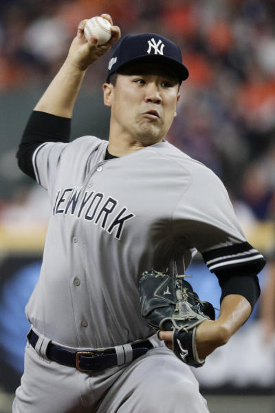 New York Yankees starting pitcher Masahiro Tanaka throws against the Houston Astros during the first inning in Game 1 of baseball's American League Championship Series Saturday, Oct. 12, 2019, in Houston. (AP Photo/Eric Gay)