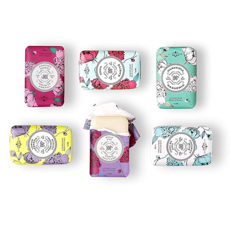 "<h3><a href=""https://amzn.to/2VkyiC2"" rel=""nofollow noopener"" target=""_blank"" data-ylk=""slk:La Chatelaine Luxury Soap Collection"" class=""link rapid-noclick-resp"">La Chatelaine Luxury Soap Collection</a></h3><br>When your gift selection is Oprah-approved, you know you can't go wrong. These plant-based soaps are made in France and packaged in a seasonal gift tin that any recipient would appreciate. <br><br><strong>La Chatelaine</strong> Luxury Soap Collection, $, available at <a href=""https://amzn.to/2VkyiC2"" rel=""nofollow noopener"" target=""_blank"" data-ylk=""slk:Amazon"" class=""link rapid-noclick-resp"">Amazon</a>"