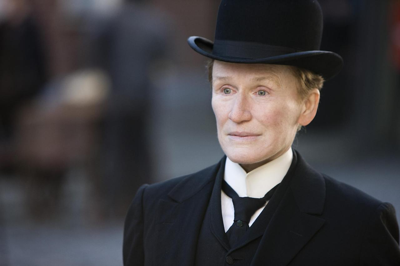"In this film image released by Roadside Attractions, Glenn Close is shown in a scene from ""Albert Nobbs."" Close was nominated Thursday, Dec. 15, 2011 for a Golden Globe award for best actress in a drama for her role in ""Albert Nobbs."" (AP Photo/Roadside Attractions, Patrick Redmond)"
