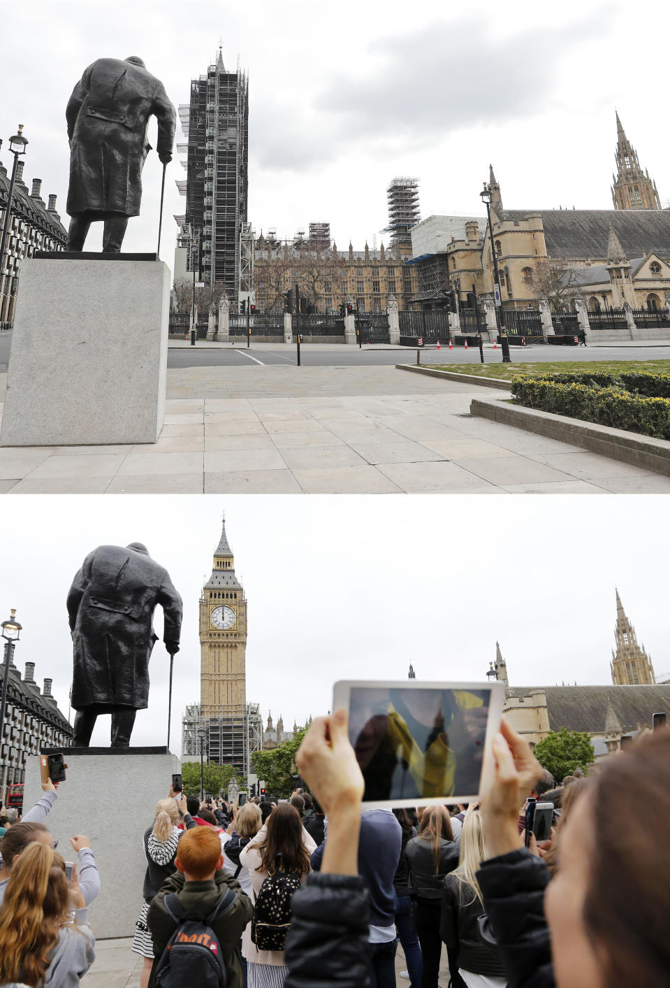 A combo of images shows people recording the last bell bong of Big Ben housed inside Elizabeth Tower in London on Monday, Aug. 21, 2017 and the same view except this time an empty scene take on Wednesday, April 1, 2020. When Associated Press photographer Frank Augstein moved to London in 2015, what struck him most was the crowds. In years of covering political dramas, moments of celebration and tragedy and major sporting events, Augstein's photographs have captured the city's ceaseless movement: Pedestrians swarming over the Millennium footbridge spanning the River Thames. Travelers from the U.K. and continental Europe thronging St. Pancras railway station. Commuters following London transit etiquette by carefully ignoring one another on a crowded Tube train, or waiting patiently in a snaking bus queue. Augstein revisited those sites in recent days after Britain — like other countries around the world — went into effective lockdown to stem the spread of the new coronavirus. (AP Photo/Frank Augstein)