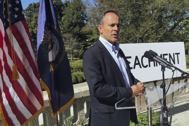 In this Oct. 4, 2019 photo, Kentucky Governor Matt Bevin condemns the impeachment inquiry against President Donald Trump while speaking with reporters outside the Governor's Mansion in Frankfort, Ky. (AP Photo/Bruce Schreiner)