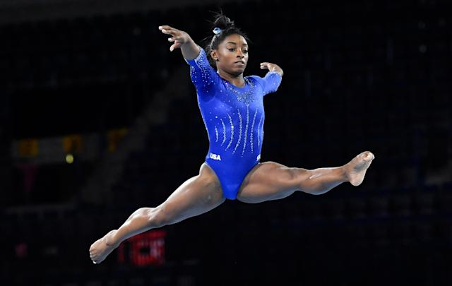 The gymnastics superstar has a chance to break multiple medal records and write herself into the Code of Points at the world championships this month. (Thomas Kienzle/AFP/Getty Images)