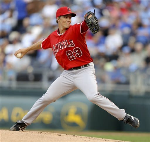 Los Angeles Angels starting pitcher Zack Greinke pitches against the Kansas City Royals in the first inning during a baseball game Saturday, Sept. 15, 2012, in Kansas City, Mo. (AP Photo/Ed Zurga)