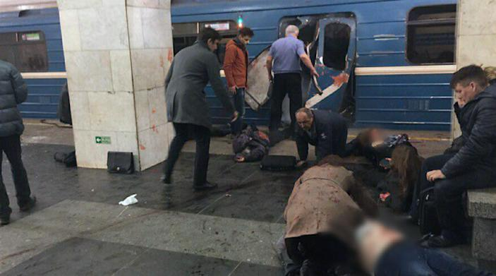 <p>Injured people and damage to a metro rail car are shown in St. Peteresburg, Russia, April 3, 2017. At least 10 people were killed Monday in an explosion on the subway in St. Petersburg, Russian news agencies reported. (Russian Look via ZUMA Wire) </p>