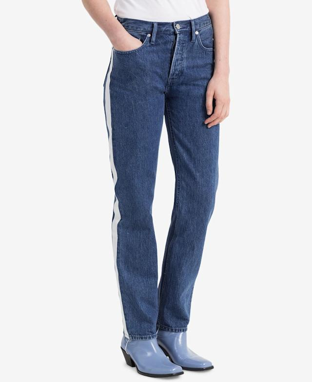 "<p>Vertica Striped Straight Jeans, $90 (on sale with code: VIP, valid until March 25 only, orig. $128), <a href=""https://www.macys.com/shop/product/calvin-klein-performance-vertica-striped-straight-jeans?ID=5904484&CategoryID=3111&tdp=cm_app~zMCOM-NAVAPP~xcm_zone~zPDP_ZONE_A~xcm_choiceId~zcidM05MAS-521db8e5-9e14-4f74-b00a-280e3decd838%40H7%40customers%2Balso%2Bshopped%24255%245904484~xcm_pos~zPos3"" rel=""nofollow noopener"" target=""_blank"" data-ylk=""slk:macys.com"" class=""link rapid-noclick-resp"">macys.com </a> </p>"