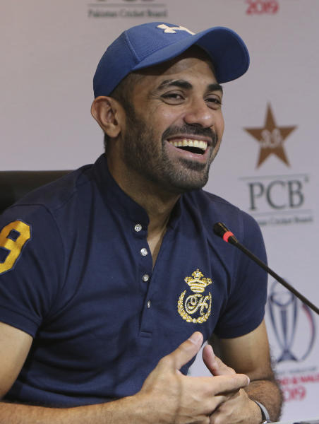 Pakistan's fast bowler Wahab Riaz gives a news conference in Lahore, Pakistan, Tuesday, May 21, 2019. Recalled Riaz said he had dreamed about being selected for Pakistan's World Cup team around 10 days ago, even though he was not part of the initial list of 23 probables. (AP Photo/K.M. Chaudary)