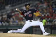 Washington Nationals starting pitcher Josiah Gray delivers during the third inning of a baseball game against the Colorado Rockies, Friday, Sept. 17, 2021, in Washington. (AP Photo/Nick Wass)