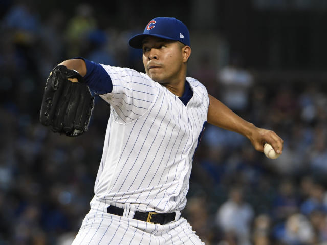 Chicago Cubs starting pitcher Jose Quintana (62) throws the ball against the Milwaukee Brewers during the first inning of a baseball game, Tuesday, Sept. 11, 2018, in Chicago. (AP Photo/David Banks)