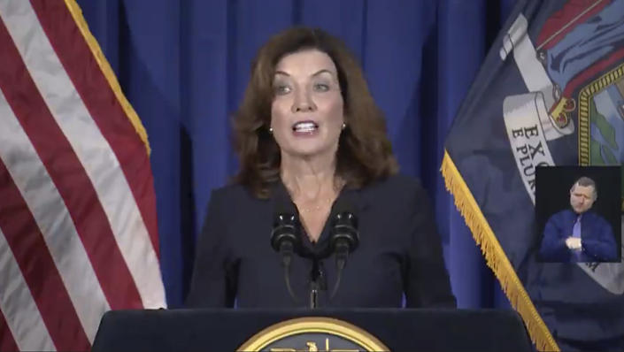 In this image taken from video, New York Lt. Gov. Kathy Hochul gives a news conference at the State Capitol, Wednesday, Aug. 11, 2021 in Albany, N.Y. Hochul is preparing to take the reins of power after Gov. Andrew Cuomo announced he would resign from office. (Office of the Lt. Governor of New York via AP)