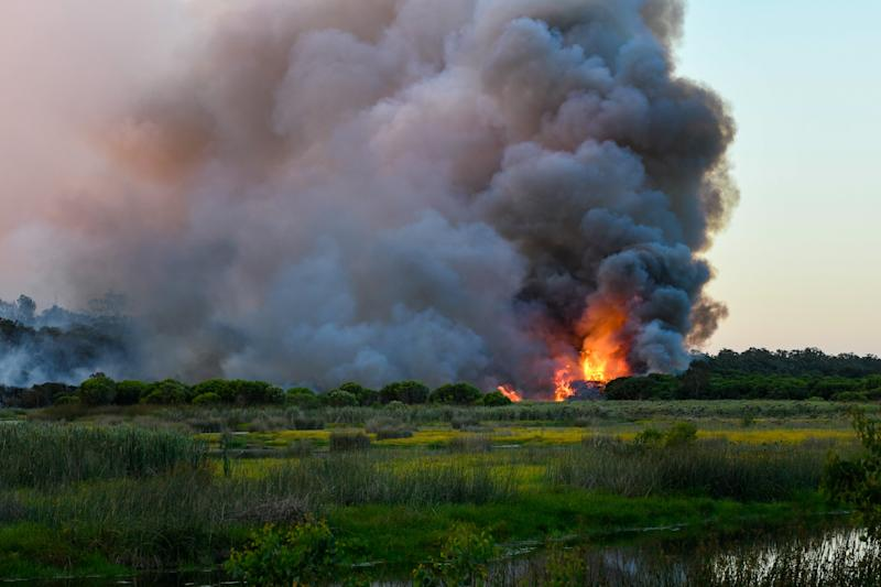 The Yanchep fire, which is located about 56 kilometres away from Perth.