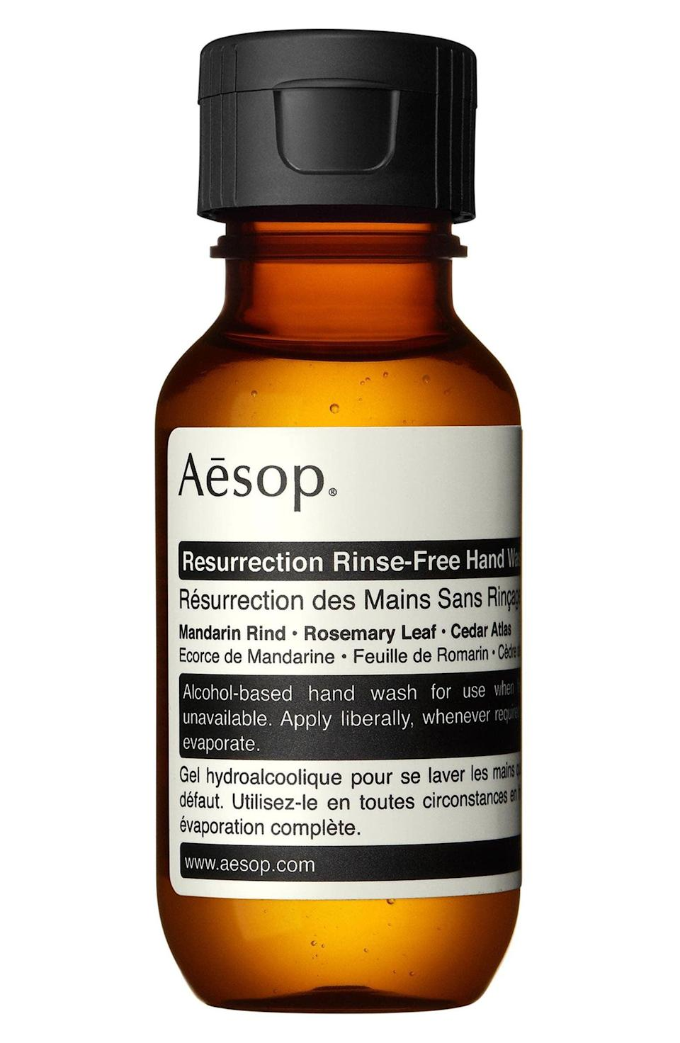<p>This <span>Aesop Resurrection Rinse-Free Hand Wash</span> ($10) has been a cult-favorite for a while. It smells great and really cleans your hands well.</p>