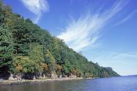 "<p><strong>The Drive: </strong>Palisades Scenic Byway</p><p><strong>The Scene: </strong>Travel beside the Hudson River through a section of New Jersey's national historic landmark, Palisades Interstate Park. The 500-foot-high Palisades look especially amazing during the autumn months. You'll also get a glimpse of the New York City skyline across the river. </p><p><strong>The Pit-Stop: </strong>Your little ones will love to learn all about the nature at the <a href=""http://www.tenaflynaturecenter.org/"" rel=""nofollow noopener"" target=""_blank"" data-ylk=""slk:Tenafly Nature Center"" class=""link rapid-noclick-resp"">Tenafly Nature Center</a>. </p>"