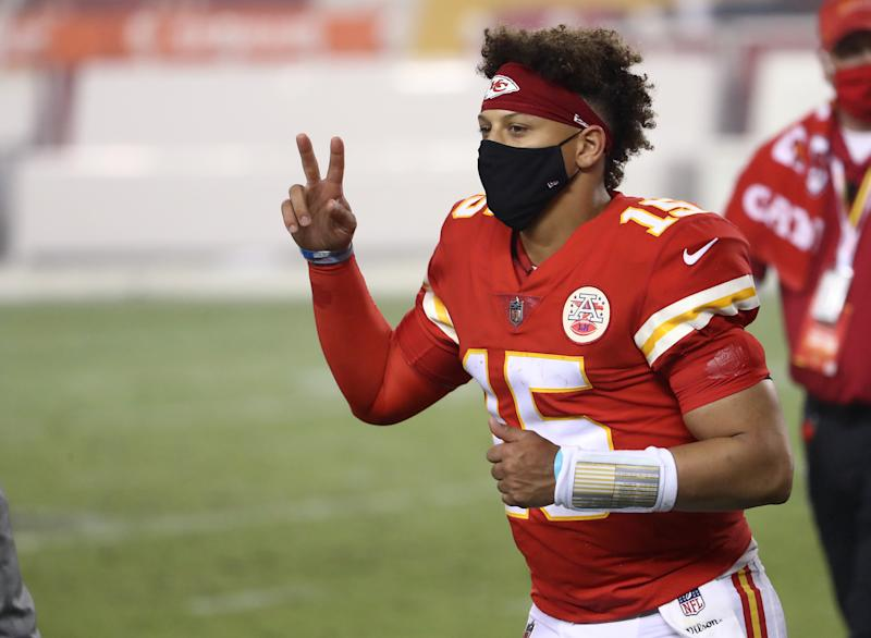 KANSAS CITY, MISSOURI - SEPTEMBER 10: Patrick Mahomes #15 of the Kansas City Chiefs shows the peace sign as he runs off the field following the team's win against the Houston Texans at Arrowhead Stadium on September 10, 2020 in Kansas City, Missouri. (Photo by Jamie Squire/Getty Images)