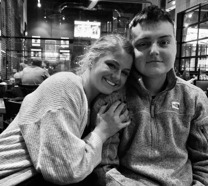 """Chase and Sadie Smith on a recent dinner out. """"All you need is love,"""" Sadie says."""
