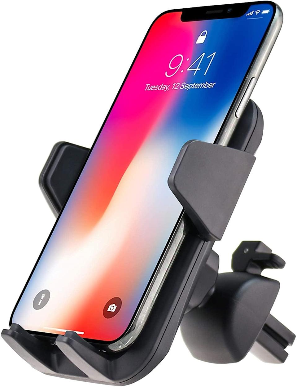 <p>Attach your phone to this <span>Fugetek Car Vent Phone Mount Holder</span> ($9) for maximum convenience when using the GPS.</p>
