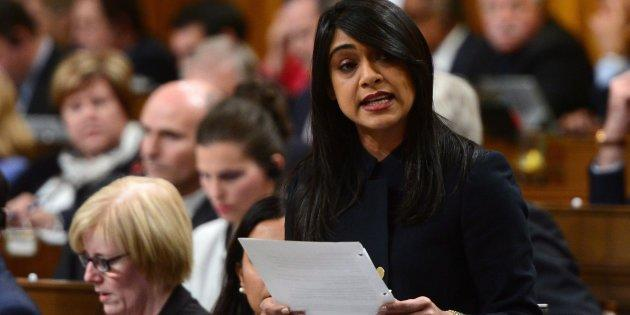 Small Business and Tourism Minister Bardish Chagger stands during question period in the House of Commons on Oct. 17, 2017.