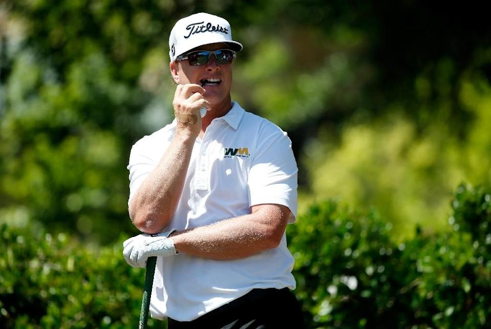 Charley Hoffman of the US prepares to hit his tee shot on the first hole during the final round of the AT&T Byron Nelson, at the TPC Four Seasons Resort Las Colinas, in Irving, Texas, on May 31, 2015 (AFP Photo/Tom Pennington)