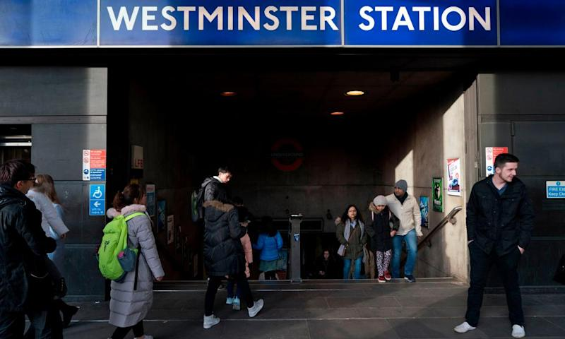 A homeless Portuguese man was found dead in a passage leading from Westminster tube station to the Houses of Parliament building.