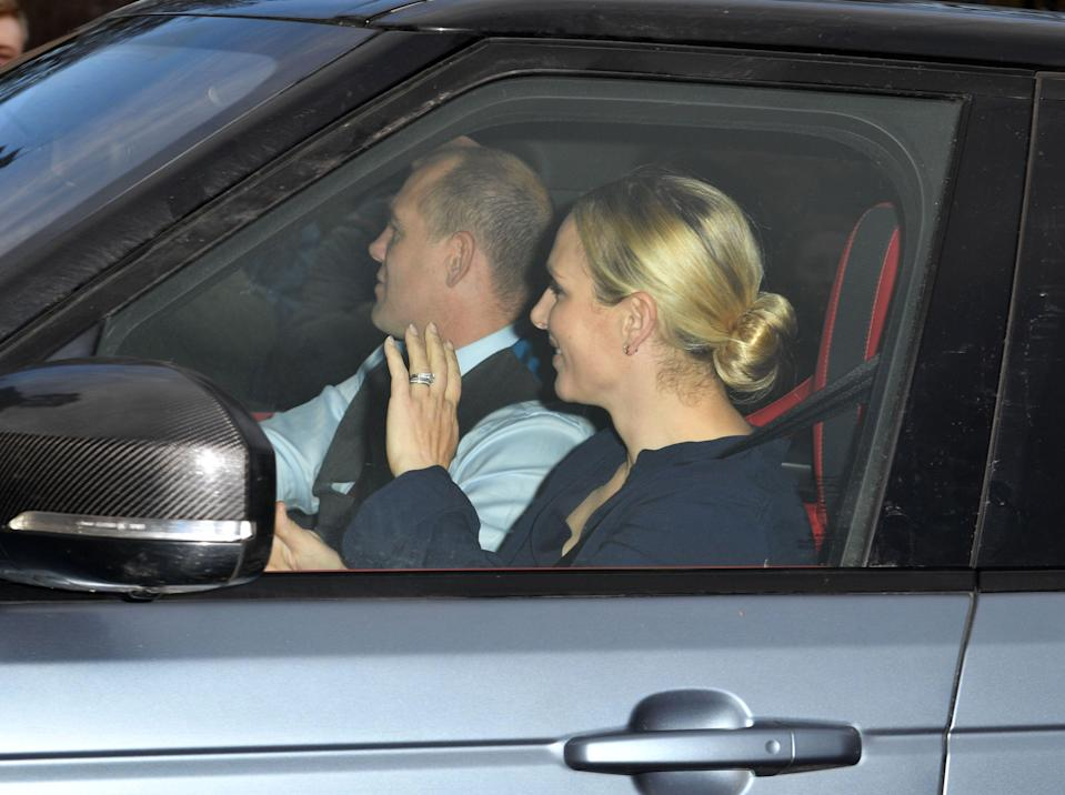 <p>Princess Anne's daughter Zara waved, as she arrived with husband Mike Tindall [Photo: Rex] </p>