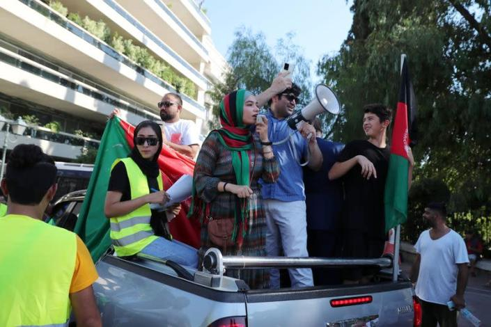 People demonstrate in support of Afghanistan in Athens