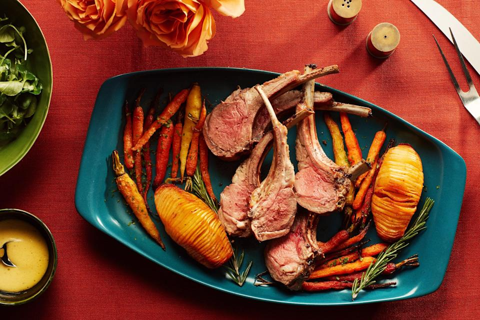 "Just two of you for Rosh Hashanah? This elegant little dinner of lamb, miso butter–basted potatoes, and honey-glazed carrots is the perfect size. <a href=""https://www.epicurious.com/recipes/food/views/rosemary-rack-of-lamb-with-roasted-potatoes-and-carrots-for-two?mbid=synd_yahoo_rss"" rel=""nofollow noopener"" target=""_blank"" data-ylk=""slk:See recipe."" class=""link rapid-noclick-resp"">See recipe.</a>"