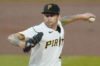 FILE - Pittsburgh Pirates starting pitcher Steven Brault delivers during the first inning of a baseball game against the Chicago Cubs in Pittsburgh, in this Tuesday, Sept. 22, 2020, file photo. Brault is done bouncing around. The Pittsburgh Pirates left-hander is a fixture in the starting rotation this season after spending years filling a variety of roles. (AP Photo/Gene J. Puskar, File)