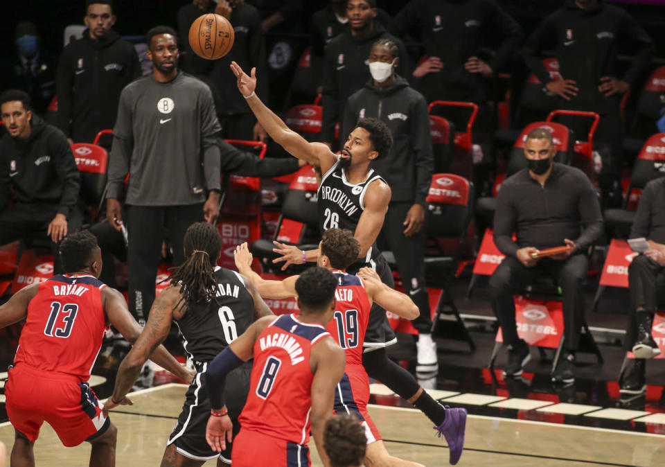 Russell Westbrook attempts a layup
