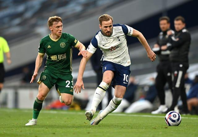 Harry Kane in action against Sheffield United