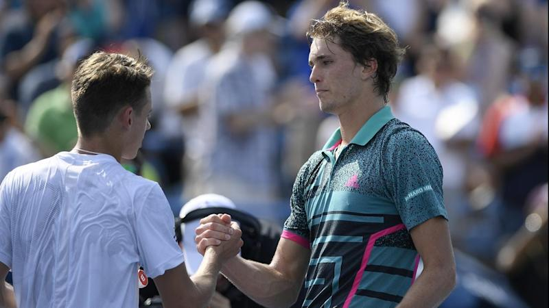Alex de Minaur (l) congratulates Alexander Zverev after the final of the Citi Open in Washington DC