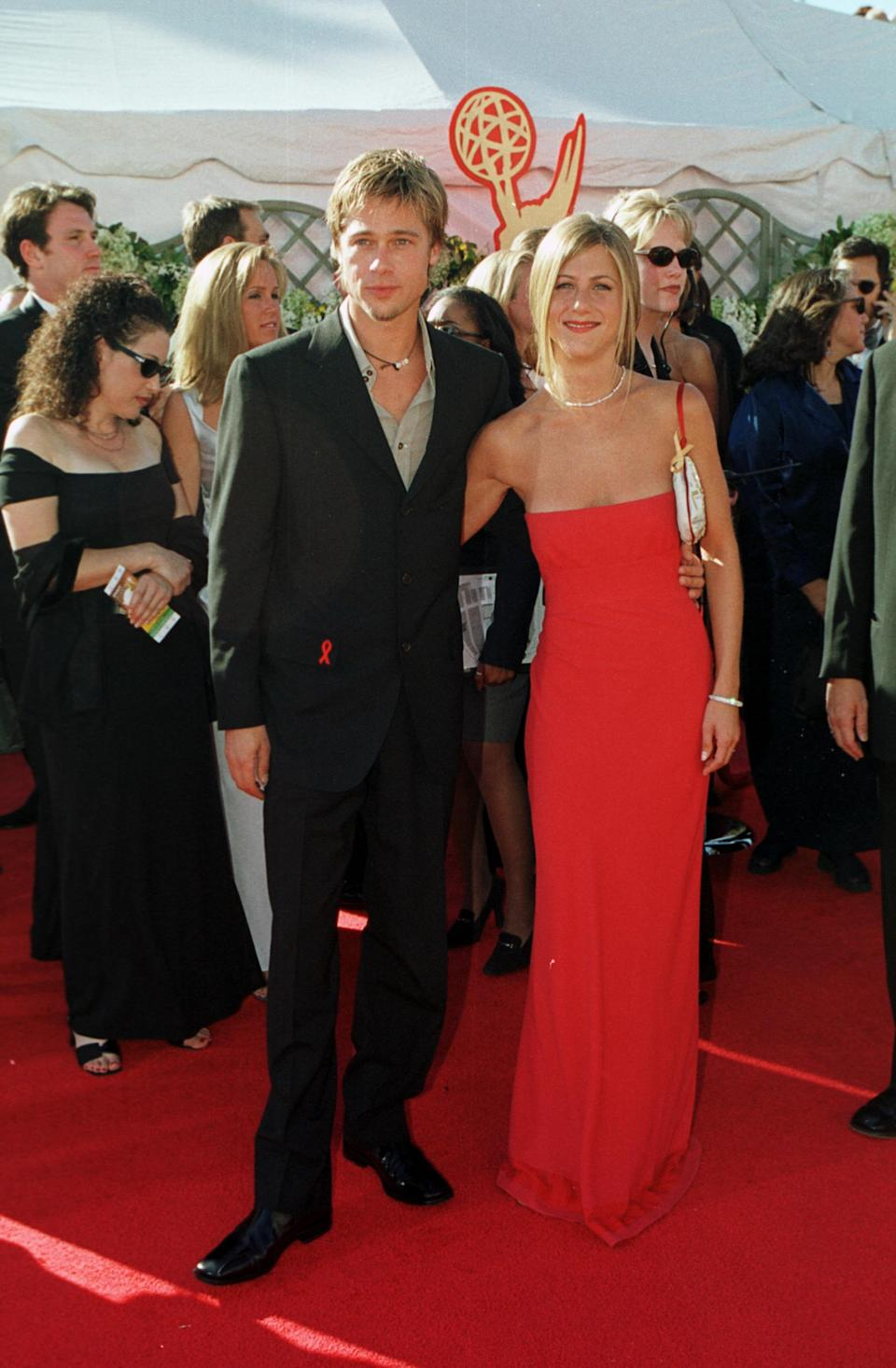 Aniston went for minimalist glam at the 2000 Emmy Awards in a simple strapless Prada gown. (Photo by Steve W. Grayson/Liaison)