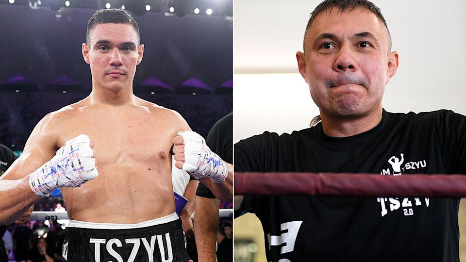 Pictured here, a photo of Tim Tszyu alongside his famous father and boxing legend, Kostya.
