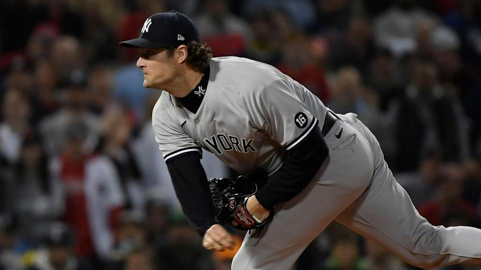 Gerrit Cole pitching side angle road uniform AL Wild Card Game 2021