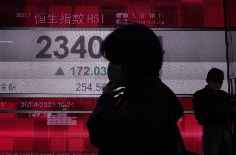 People wearing face masks walk past a bank electronic board showing the Hong Kong share index at Hong Kong Stock Exchange Monday, April 6, 2020. Asian shares and U.S. futures have rebounded as investors grasped at threads of hope that the battle against the coronavirus pandemic may be making some progress in some hard-hit areas.(AP Photo/Vincent Yu)