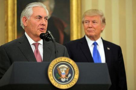 Trump with his Secretary of State, former Exxon Mobil CEO Rex Tillerson.