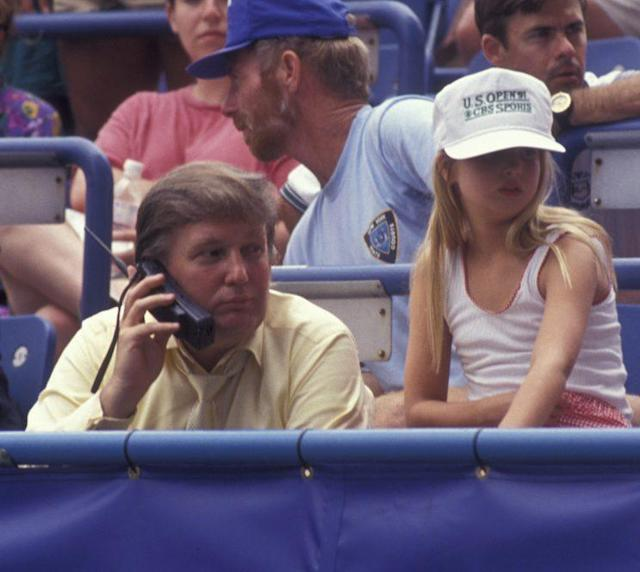 Donald Trump and Ivanka Trump attend the U.S. Open Tennis Championship at Flushing Meadows in New York City. (Photo by Ron Galella/WireImage)