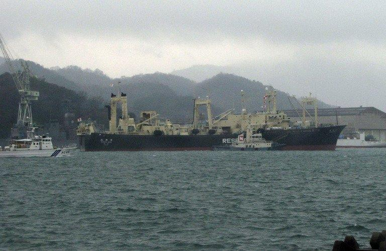 Japan's whaling research ship 'Nisshin Maru' is seen leaving from Innoshima island port in Hiroshima prefecture, western Japan, on December 28, 2012. Japanese whaling vessels left port bound for the Southern Ocean on their annual hunt for the huge marine mammals, according to a media report and Greenpeace