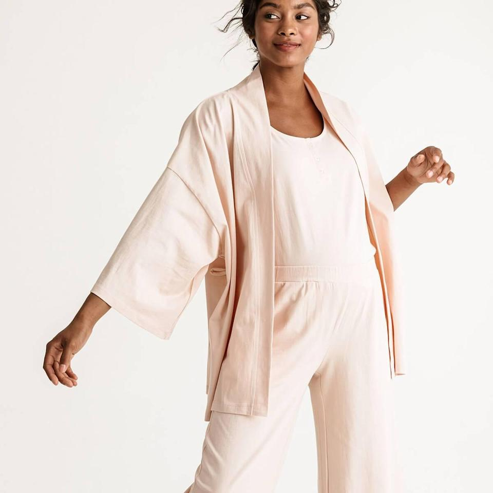 """Spoil the mama-to-be with this lounge set from Storq. It includes a wrap jacket, a tank top, and lounge pants that she can wear individually or as a total look. $145, Storq. <a href=""""https://storq.com/products/maternity-and-nursing-lounge-pajama-set?sscid=a1k4_g8xk3"""" rel=""""nofollow noopener"""" target=""""_blank"""" data-ylk=""""slk:Get it now!"""" class=""""link rapid-noclick-resp"""">Get it now!</a>"""