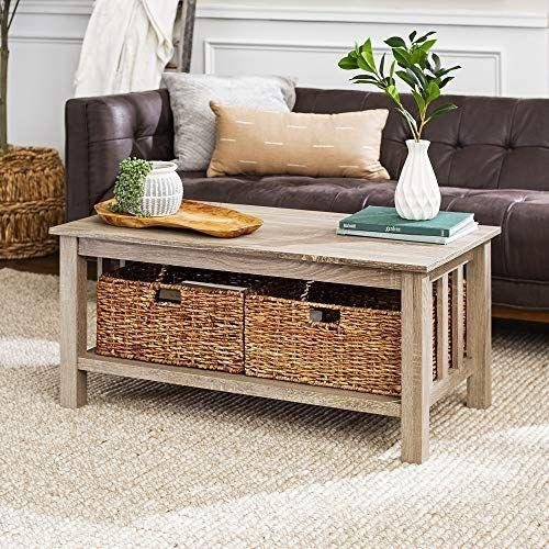 """<p><strong>Walker Edison Furniture Company</strong></p><p>amazon.com</p><p><strong>$127.50</strong></p><p><a href=""""https://www.amazon.com/dp/B01MQILE36?tag=syn-yahoo-20&ascsubtag=%5Bartid%7C10055.g.34482905%5Bsrc%7Cyahoo-us"""" rel=""""nofollow noopener"""" target=""""_blank"""" data-ylk=""""slk:Shop Now"""" class=""""link rapid-noclick-resp"""">Shop Now</a></p><p>Even if you're short on space, this <a href=""""https://www.goodhousekeeping.com/home/decorating-ideas/g1231/coffee-table-styling/"""" rel=""""nofollow noopener"""" target=""""_blank"""" data-ylk=""""slk:coffee table"""" class=""""link rapid-noclick-resp"""">coffee table</a> can comfortably fit in your living room. It's just 18 inches tall and 40 inches long but can support up to 75 pounds. The table includes two pre-assembled wicker baskets for extra storage.</p><p><strong>Reviews: </strong>750+<strong><br>Star rating: </strong>4.4</p>"""