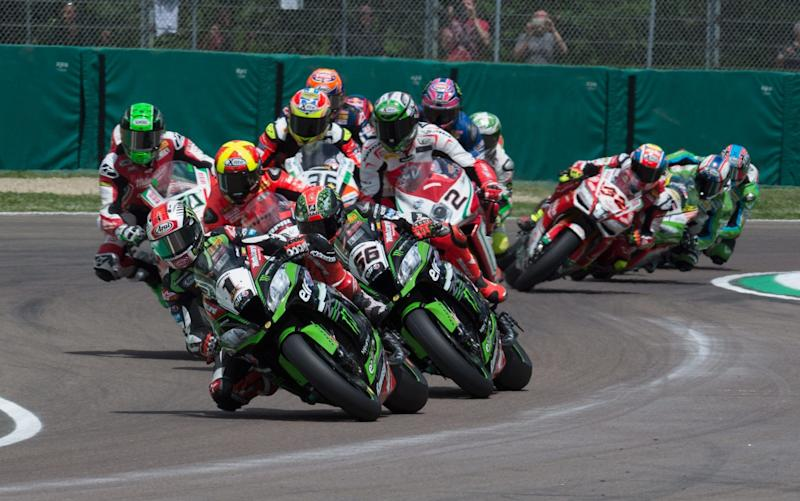 Reigning champion Jonathan Rea heads the pack last time out at Imola en route to winning both races at the Italian round - Getty Images Europe
