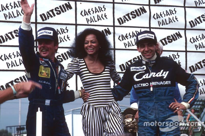 "Reigning supreme in Vegas - Rosberg has just won the 1982 World Championship, Diana Ross has awarded the trophies, and Alboreto has just landed his first GP victory. <span class=""copyright"">Motorsport Images</span>"